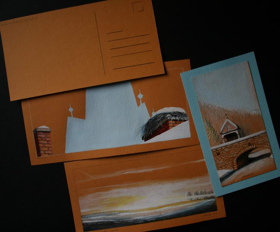 grafit, suha barvica, akril na papir, cca 10x20 cm