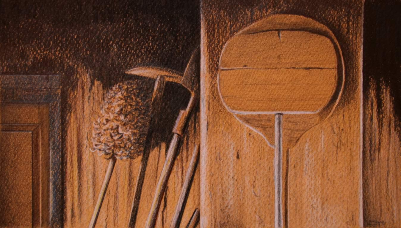 grafit, suha barvica na papir, 13x23 cm
