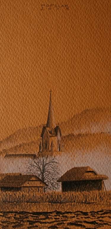 grafit, suha barvica na papir, 17x8 cm