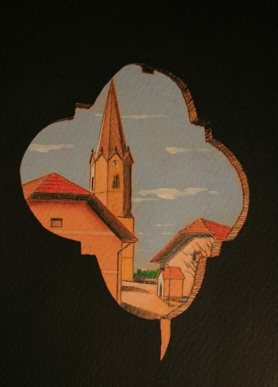 grafit, akril, suha barvica na papir, 20x10 cm