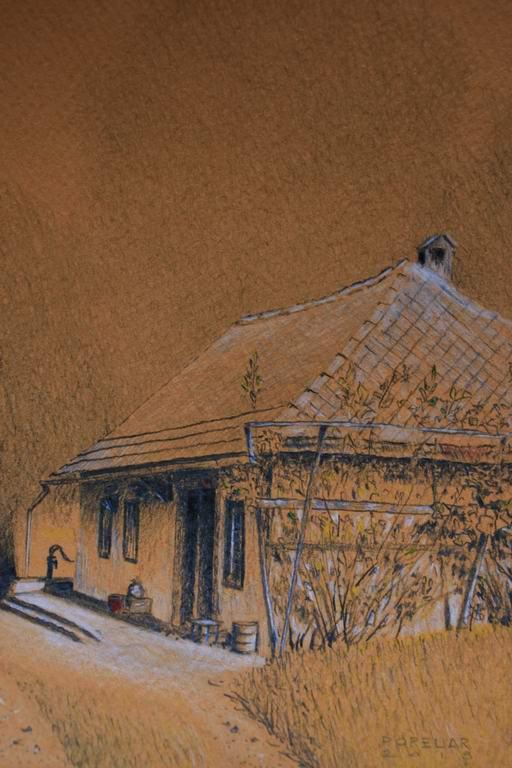 grafit, akril, suha barvica na papir, 20x15 cm - izrez